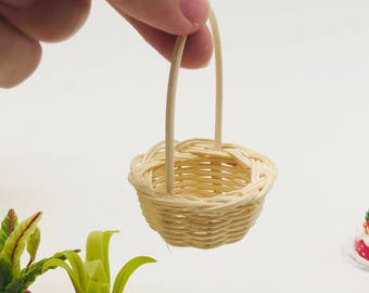 3 pieces Miniature Wicker, Miniature Basket, Miniature Doll's house and decorate