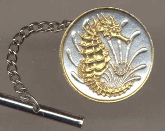 Tie tack - Singapore Seahorse,  Gorgeous 2-Toned Gold on Silver  coin - Tie or Hat tack