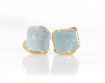 aquamarine earrings | march birthstone studs | aquamarine jewelry | aquamarine gold | raw crystal earrings | raw aquamarine studs