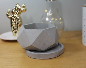 Concrete Hexagon Planter Pots with Round Tray