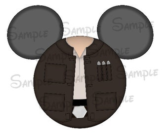 Han Solo inspired DIGITAL printable Mickey head file DIY