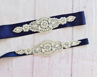 Flower Girl Sash / Belt... Bridesmaid Sash / Belt..Navy Flower Sash / Gray Sash..Maternity Sash / Wedding Dress Sash