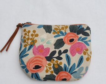 Rosa Natural Rifle Paper Co. Padded Round Zipper Pouch / Coin Purse / Gadget / Cosmetic Bag - READY TO SHIP