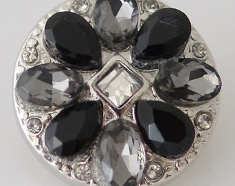 KB8010 Black Onyx Petals w Crystal Center Set in Silver