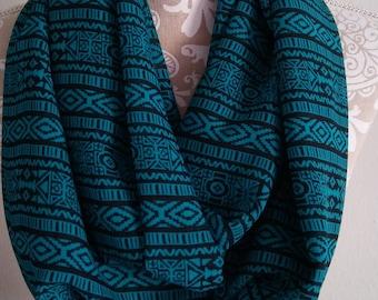 Aztec Chiffon Scarf,  Chiffon Jade  scarf, Infinity Scarf , Woman scarves, Chiffon scarf, scarf, circle scarf, Southwestern, gift for her