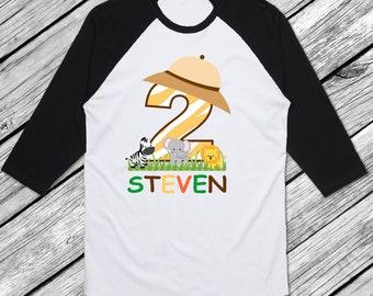 Safari Birthday Shirt Raglan Birthday Shirt Personalized Zoo Birthday Shirt