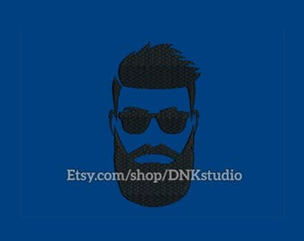 Bearded Man Face Embroidery Design - 6 Sizes - INSTANT DOWNLOAD