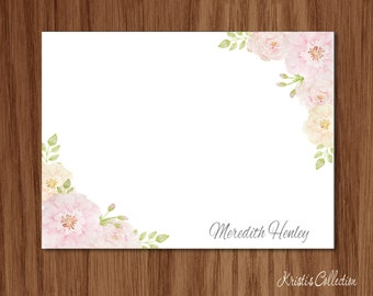 Floral Flat Note Card Set - Personalized Feminine Personal Stationery Stationary Custom Notecards - Moms Teachers Ladies Grandmothers Gift