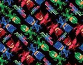 PJ Masks Fabric Black Background By the Yard Basic Cotton,Performance Knit