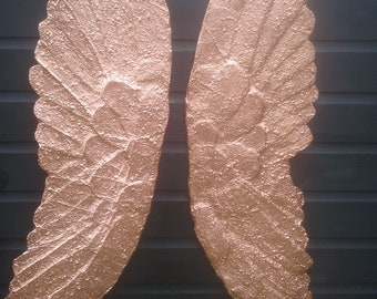 Rose Gold Large Textured Wall Hanging Angel Wings