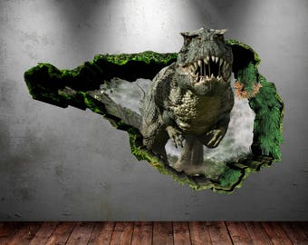 Dinosaur Wall Decal Wall Stickers Full Color 3D Dinosaur Wall Art Sticker Boys Decal Mural Transfer Graphic Wall Stickers WSD76