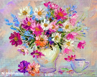 Flower Painting Impasto Colorful Palette Knife Oil on Canvas