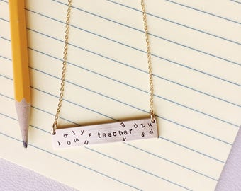Teacher Bar Necklace, Bar Necklace, Teacher Gifts