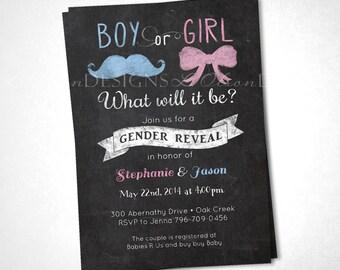 Gender Reveal Mustache Bow Chalkboard Invite - DIY Printable