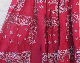 Red bandana womens skirt, 26 in length