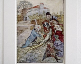 ORIGINAL 1936 Alice in Wonderland print (Book Plate) by A.E.Jackson