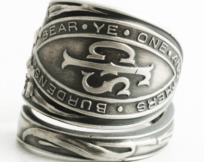 Christian Ring, Sterling Silver Spoon Ring, Bear Ye One Anothers Burdens, Fraternal Ring, Christian Gift Ring, Adjustable Ring Size (6442)