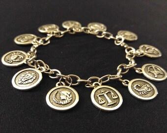 Charm Bracelet ZODIAC ASTROLOGY SIGNS Celestial Horoscope Stainless Steel Gift