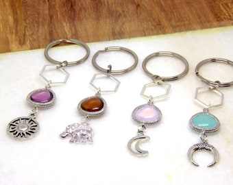 Natural Stone Charm Keychain, Crystal Key Chain, Turquoise Keyring, Pink Key Ring, Brown Keyring, Gift, Bridesmaids gift, Keychain for her