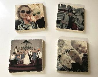 Tile Photo Coaster - Your Photo on Tile - Photo Transfer, Picture Frame, Party Decor, Wedding Decor, Wedding Favors - FREE Domestic Ship