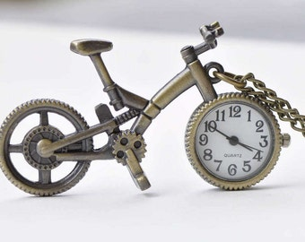 1 PC Antique Bronze Vintage Bicycle Pocket Watch 38x60mm A8698