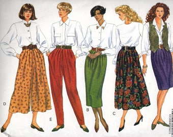 5058 Butterick Sewing Pattern Tapered or Slightly Flared Skirt Split Skirt Tapered Pants UNCUT Size 12 14 16 Vintage 1990 34B 36B 38B