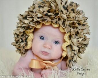 Cheetah Leopard Baby Bonnet, Baby Crochet Bonnet in Animal Print, 1st Halloween Costume Accessory, Unique Baby Gift, Cheetah Baby Costume