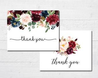 Elegant Floral Thank You Cards - Rustic Country Bridal Shower Thank You Cards -Pink, Navy or Burgundy - Set of 24 with envelopes