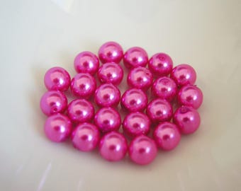 Your pink or purple to choose from-set of 10 beads glass Pearl 4mm round