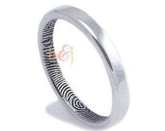Narrow 2.5mm Fingerprint Wedding Ring with Wrapped Print on the Inside - Sterling Silver