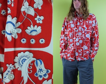 Vintage 70s Floral Flower Red Long Sleeve Button Down Shirt - Hippie Surfer 60s California Beach Shirt - Size Large