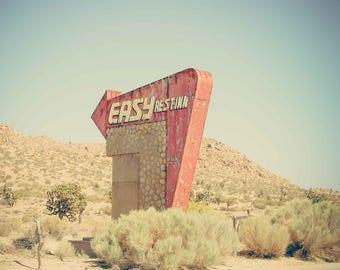Vintage Americana Photography, Desert Sign, Vintage Sign, Desert Art, Los Angeles, Large Wall Art, Art Print, Bar Print