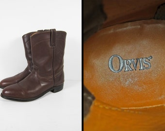 Orvis Cowboy Roper Boots Brown Leather Pecos Boot Made in USA - Size 12 D