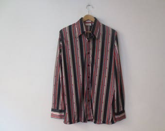 Vintage '70s Kings Road Shop, Sears The Men's Store Silky Nylon Funky Striped Print Button Down, M