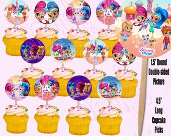 Shimmer and Shine Nick Jr Nickelodeon Cupcake Picks, One Dozen 12 pcs, Cake Topper party favor decoration