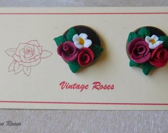 Vintage roses polymer clay stud earrings