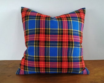Blue Christmas Pillows, Blue Red Plaid Pillow, Wooly Tartan Pillow Covers, Stewart Plaid Cushion, Xmas Seasonal Home Decor, 14x18, 18x18