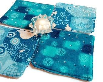 Blue Fabric Coasters, Sparkle Glitter, Set of 4, Drink Coaster, Wine Coasters