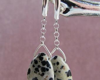 Dalmatian Jasper Teardrop Dangle Earrings on Sterling Silver Findings Choice of Finding