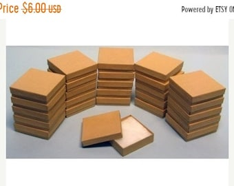 TAX SEASON Stock up 10 Pack Kraft 3.5 X 3.5 X 1 Inch  Size Cotton Filled Jewelry Presentation Gift Boxes