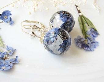 Forget Me Not Earrings Resin Earrings Real Flower Earrings Resin Jewelry Dangle Earrings Gift For Her