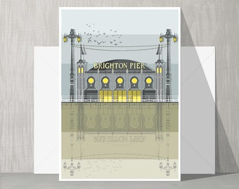 SALE Brighton Architecture Blank Card - Brighton Pier