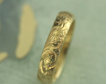 Gold Plated Ring~Patterned Band~Bridal Bouquet Band~Solid Sterling Silver Ring~Vintage Style Ring~Antique Style Ring~Plated Floral Ring