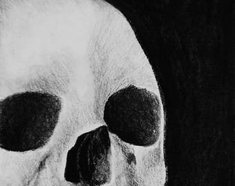 """Into the Darkness 6"""" x 8"""" Giclee Charcoal Art Print"""