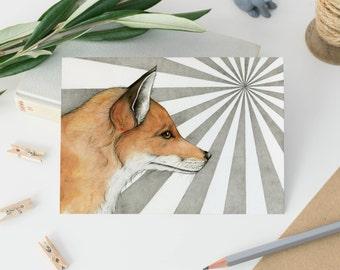 Fox postcards - red fox illustration - animal postcards - wildlife art postcards - foxes - fox print