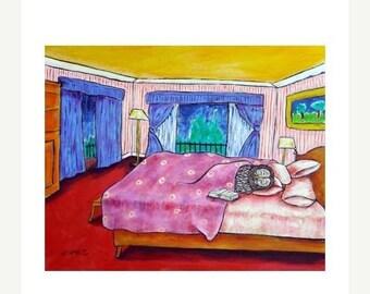 25% off Owl Sleeping in Bed Bird Art Print