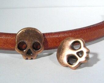 Regaliz Skull Spacers - Antique Copper - SP35 - Choose Your Quantity