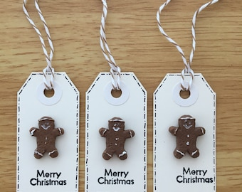 Set of 3 Gingerbread man gift tags