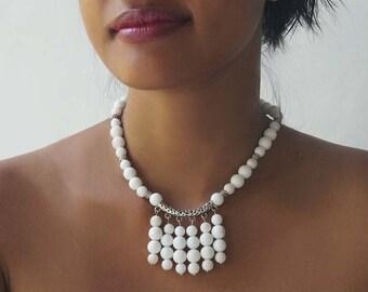 Snow White Agate Necklace, Boho Wedding Stone Necklace,  White Stone Collar
