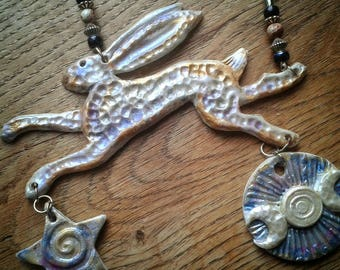 Ceramic Porcelain Clay Running Hare with Driftwood Hanging Decoration